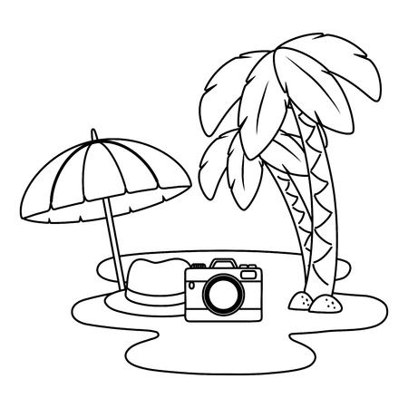 Tourist trip summer travel palm tree umbrella hat and camera on water adventure exploration vector illustration graphic design