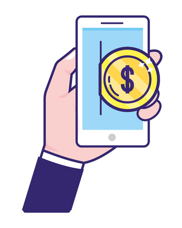 saving money business accounting technology smartphone digital payment with investment elements cartoon vector illustration graphic design Stock Illustratie