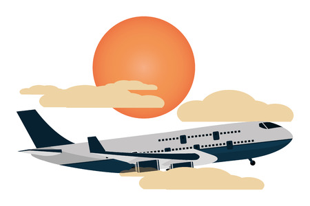 transportation concept airplane flying between clouds and sun at sunset scene cartoon vector illustration graphic design Illustration