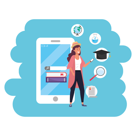 Online education millennial young student smartphone account search career graduation vector illustration graphic design