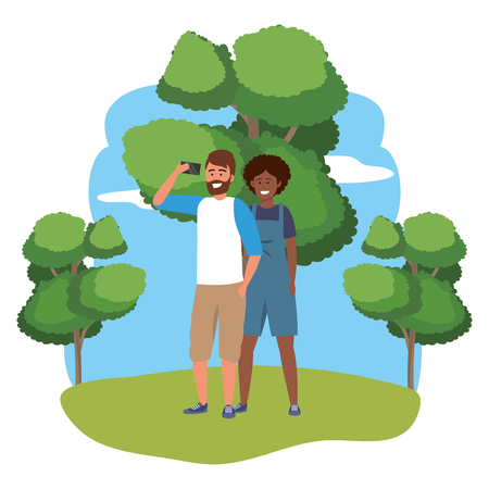 Millennial couple smartphone taking selfie stylish outfit sweater overalls afro bearded nature trees bushes background frame vector illustration graphic design