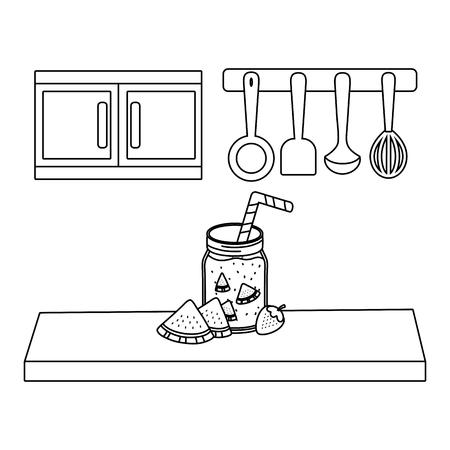 delicious healthy meal juice with fruits mix over wooden table kitchen scene cartoon vector illustration graphic design