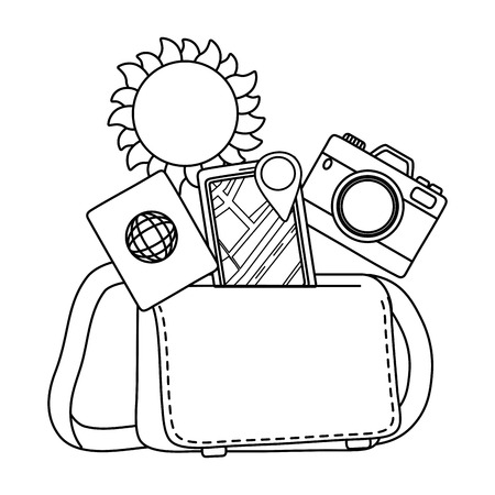 Tourist trip summer travel leather bag with red camera passport and gps screen location marker adventure exploration vector illustration graphic design