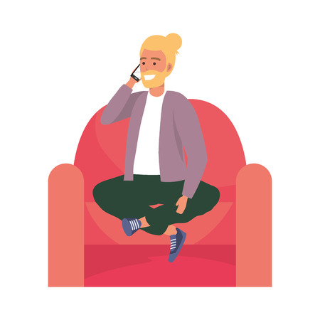 Millenial person stylish outfit sitting in couch using smartphone procrastination bearded man bun vector illustration graphic design 矢量图像