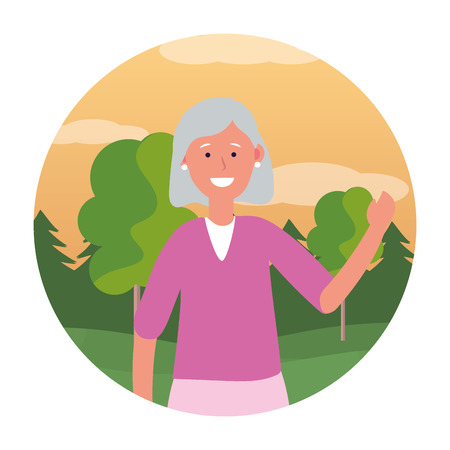 old woman avatar cartoon character isolated round icon park landscape vector illustration graphic design