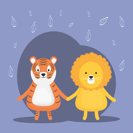 cute tiger and lion adorable characters vector illustration design