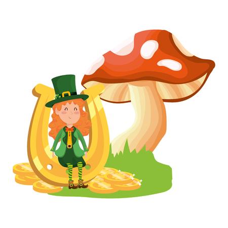 st patricks day elf with mushroom and horseshoe cartoon vector illustration graphic design Ilustracja