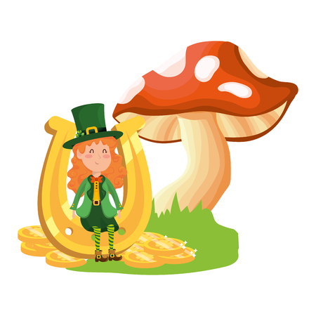 st patricks day elf with mushroom and horseshoe cartoon vector illustration graphic design Illustration