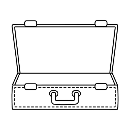 Tourist trip summer travel open suitcase empty with handle adventure exploration isolated vector illustration graphic design 일러스트
