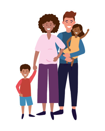 couple with children avatar cartoon character vector illustration graphic design Stock Vector - 122494753