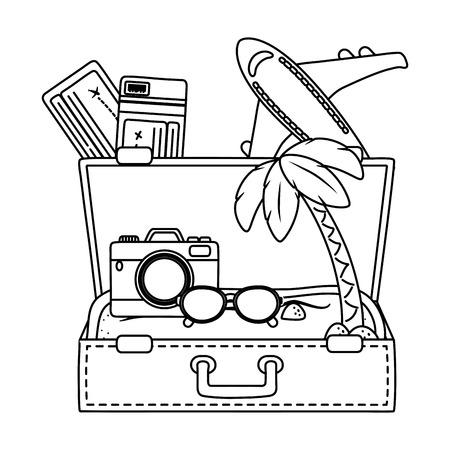 Viaje turístico viaje de verano maleta abierta con gafas de cámara de arena y boletos de avión exploración de aventuras ilustración vectorial diseño gráfico