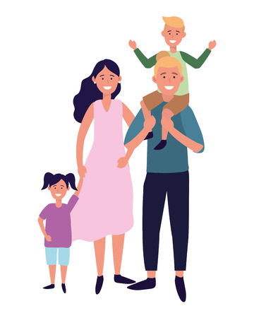 couple with children avatar cartoon character vector illustration graphic design Stock Vector - 122494779
