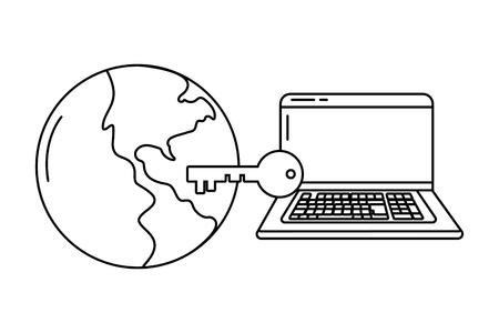 technology device laptop security key international world icon cartoon vector illustration graphic design