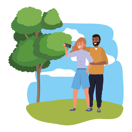 Millennial couple date using smartphone taking selfie smiling posing redhead shorts afro bearded splash frame nature background vector illustration graphic design