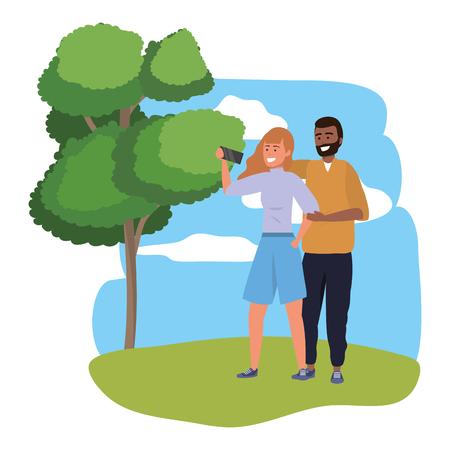 Millennial couple date using smartphone taking selfie smiling posing redhead shorts afro bearded splash frame nature background vector illustration graphic design