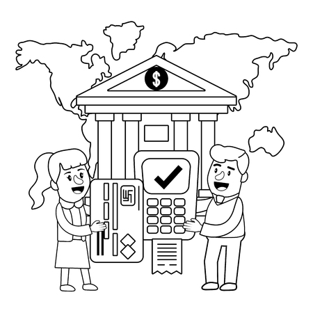Banking teamwork financial planning dataphone transaction paper receipt credit card black and white vector illustration graphic design Ilustración de vector