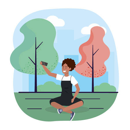 woman with smartphone trechnology and seating with trees vector illustration