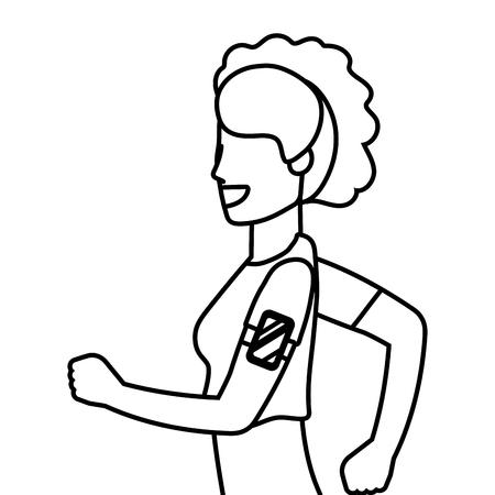 fitness sport woman running with smartphone music cartoon vector illustration graphic design