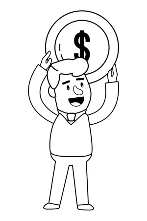 Consumer banking operations happy jovial smiling holding coin client isolated black and white vector illustration graphic design Иллюстрация