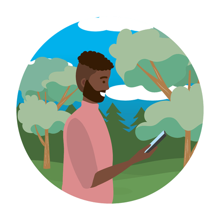 Millenial person stylish outfit using smartphone texting conversation bearded portrait nature background round frame trees bushes vector illustration graphic design