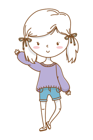 Cute girl cartoon stylish hairstyle nice outfit clothes blushing sweater and shorts waving hello isolated vector illustration graphic design