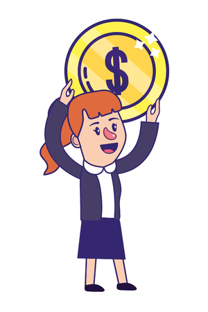 Businesswoman banking financial planning holding money coin currency vector illustration graphic design