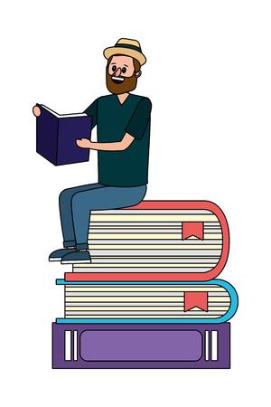 education man reading book over books cartoon vector illustration graphic design Illustration