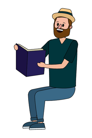 education seated man reading book cartoon vector illustration graphic design Ilustração