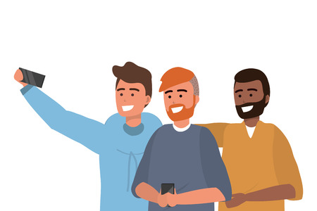 Millennial group smartphone taking selfie smiling posing afro redhead bearded vector illustration graphic design