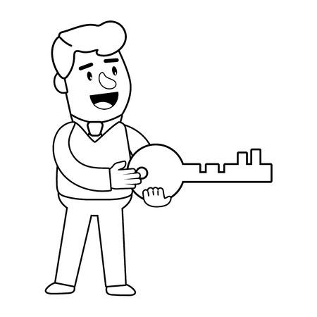 Opérations bancaires aux consommateurs heureux souriant jovial tenant la clé de sécurité client noir et blanc illustration vectorielle conception graphique Vecteurs