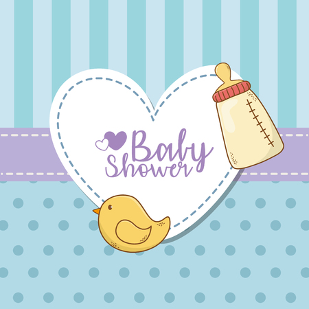 baby shower card with milk bottle vector illustration design