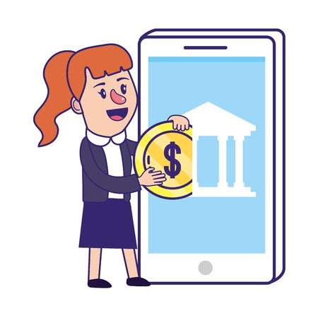 Businesswoman banking financial planning smartphone deposit money coin currency vector illustration graphic design Ilustração
