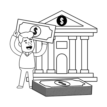 Consumer banking operations happy jovial smiling bank front bill stack client black and white vector illustration graphic design
