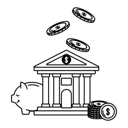 Bank building front currency savings raining money coin stack piggybank savings black and white vector illustration graphic design Illustration