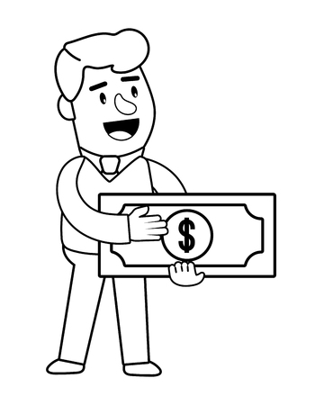 Consumer banking operations happy jovial smiling holding money bill client isolated black and white vector illustration graphic design