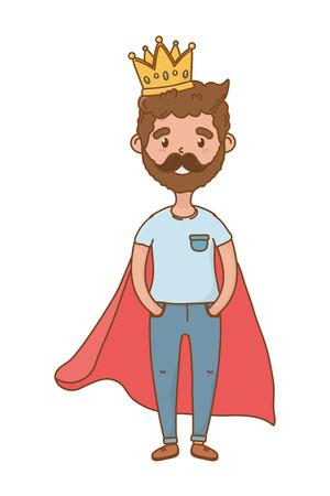 man with crown icon cartoon beard vector illustration graphic design