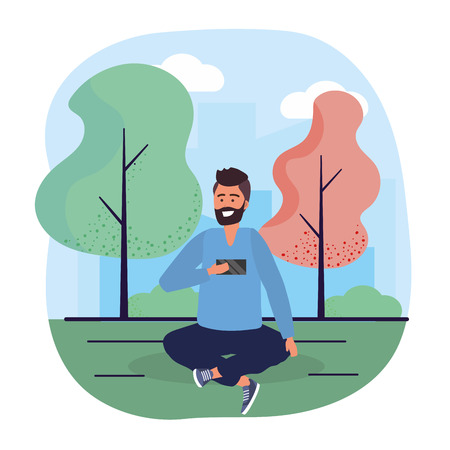 man with smartphone trechnology and seating with trees vector illustration