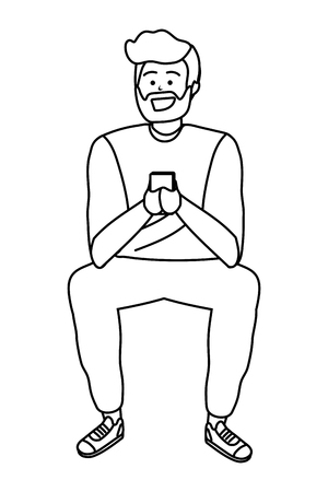 Millennial person stylish outfit sitting using smartphone texting bearded blond isolated black and white vector illustration graphic design
