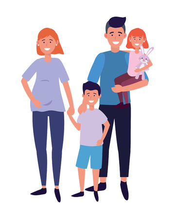 couple with children avatar cartoon character vector illustration graphic design Stock Vector - 122495172