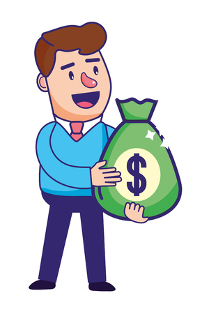 Businessman banking financial planning holding money bag currency vector illustration graphic design Illustration