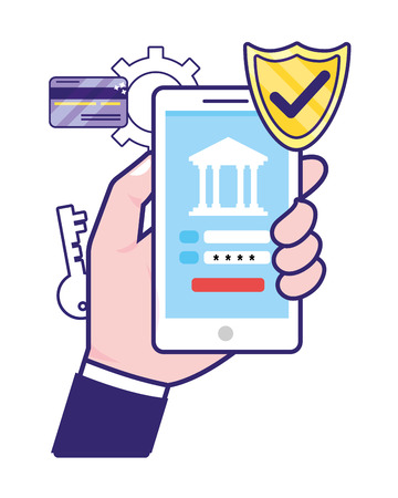 saving money business accounting technology smartphone digital payment with investment elements cartoon vector illustration graphic design