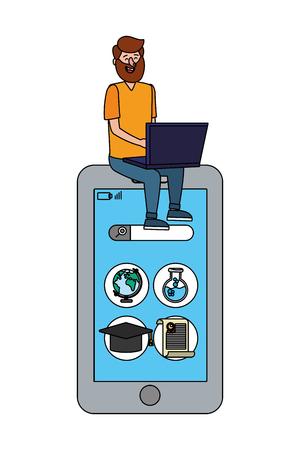 online education man with laptop cartoon vector illustration graphic design