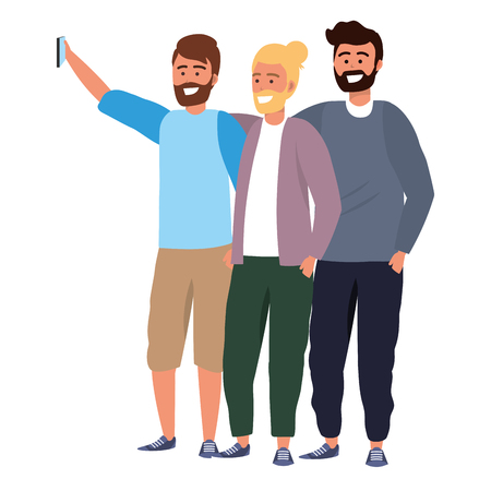 Millenial diverse group taking selfie smiling happy together wearing sweaters bearded vector illustration graphic design