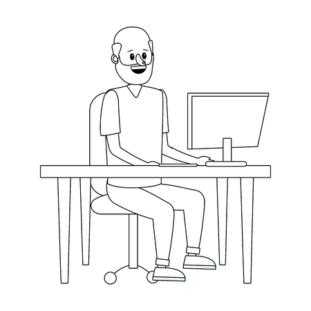 young man sitting at the desk with computer cartoon vector illustration graphic design Vecteurs