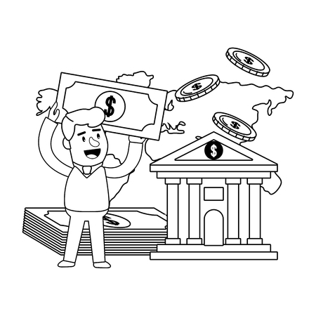 Consumer banking operations happy jovial smiling holding money bill stack client bank front black and white vector illustration graphic design
