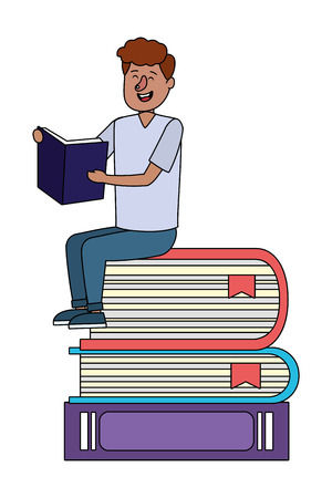 education man reading book over books cartoon vector illustration graphic design Zdjęcie Seryjne - 122495363
