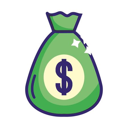 Banking invesment currency money bag finance planning isolated vector illustration graphic design Ilustração