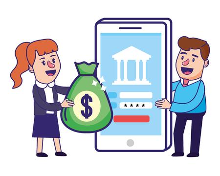 Banking teamwork financial planning holding money bag smartphone security password vector illustration graphic design Vector Illustration