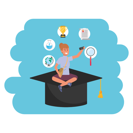 Online education millennial young student square academic hat search career graduation purse vector illustration graphic design Illustration