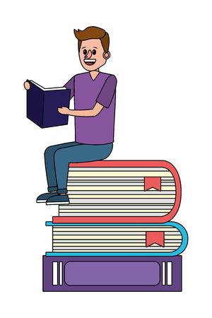 education man reading book over books cartoon vector illustration graphic design Zdjęcie Seryjne - 122495466